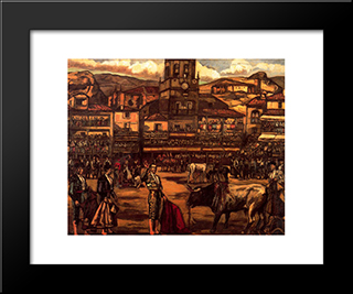 Bull Fighting In Ronda: Modern Black Framed Art Print by Jose Gutierrez Solana