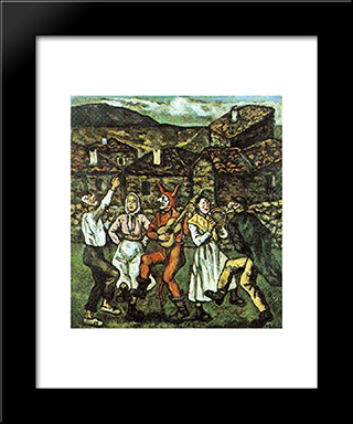Carnival In A Village: Modern Black Framed Art Print by Jose Gutierrez Solana