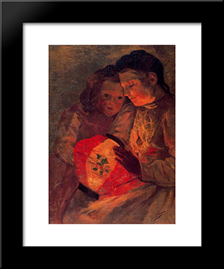 Children With The Lamp: Modern Black Framed Art Print by Jose Gutierrez Solana