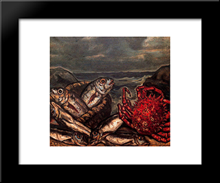 Fish And Crab: Modern Black Framed Art Print by Jose Gutierrez Solana