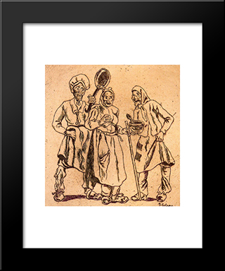 Masks Cooks: Modern Black Framed Art Print by Jose Gutierrez Solana