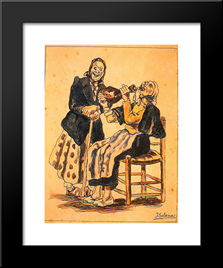 Masks Drinking: Modern Black Framed Art Print by Jose Gutierrez Solana