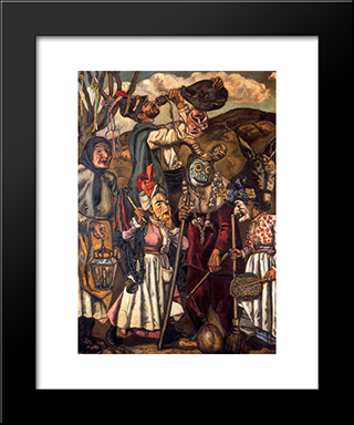 Masks With Donkey: Modern Black Framed Art Print by Jose Gutierrez Solana