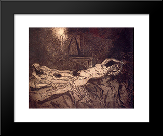 Naked Man And Woman: Modern Black Framed Art Print by Jose Gutierrez Solana