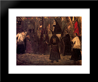 Procession In Toledo: Modern Black Framed Art Print by Jose Gutierrez Solana