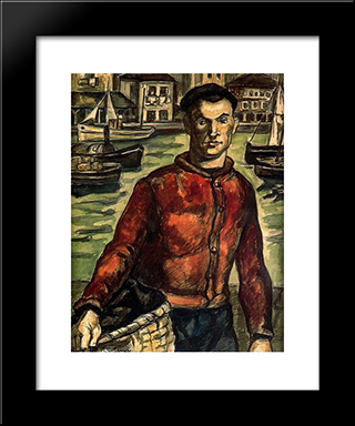 Sailor With Basket: Modern Black Framed Art Print by Jose Gutierrez Solana