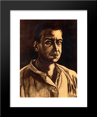 Self-Portrait: Modern Black Framed Art Print by Jose Gutierrez Solana