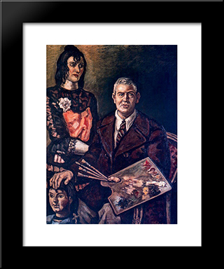 Self-Portrait With Doll: Modern Black Framed Art Print by Jose Gutierrez Solana
