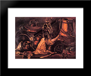 Still Life With Dead Turkey: Modern Black Framed Art Print by Jose Gutierrez Solana