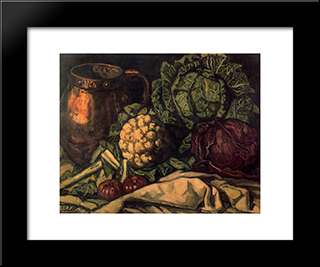 Still Life With Red Cabbage, Copper, Cauliflower And Cabbage: Modern Black Framed Art Print by Jose Gutierrez Solana