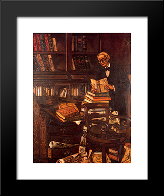 The Bibliophile: Modern Black Framed Art Print by Jose Gutierrez Solana