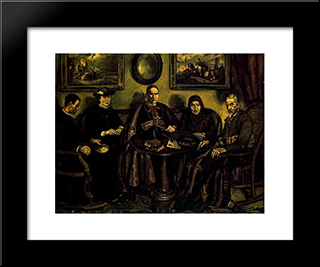 The Bishop'S Visit: Modern Black Framed Art Print by Jose Gutierrez Solana