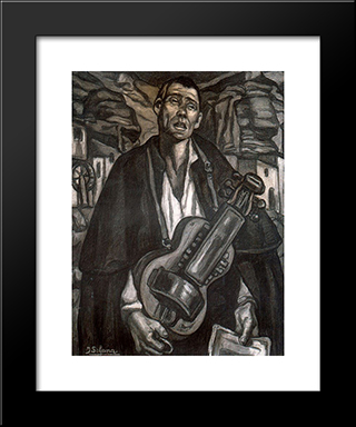The Blind Musician: Modern Black Framed Art Print by Jose Gutierrez Solana