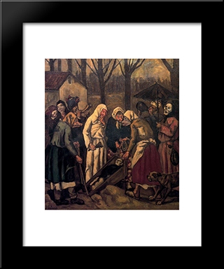 The Burial Of The Sardine: Modern Black Framed Art Print by Jose Gutierrez Solana