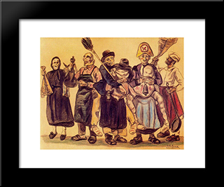 The Carnival: Modern Black Framed Art Print by Jose Gutierrez Solana