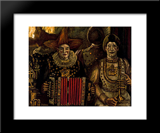 The Clowns: Modern Black Framed Art Print by Jose Gutierrez Solana