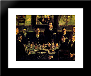 The Coffee Gathering Pombo: Modern Black Framed Art Print by Jose Gutierrez Solana