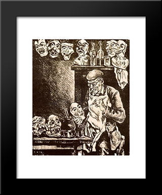 The Designer Of Masks: Modern Black Framed Art Print by Jose Gutierrez Solana