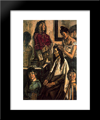 The Hairdresser: Modern Black Framed Art Print by Jose Gutierrez Solana