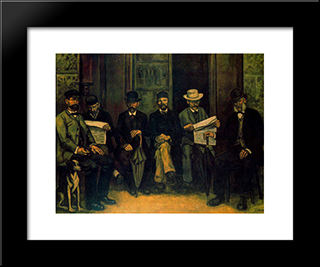 The Meeting At The Pharmacy: Modern Black Framed Art Print by Jose Gutierrez Solana