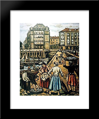 The Ramp At Puerto Chico: Modern Black Framed Art Print by Jose Gutierrez Solana