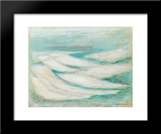 Storm At Fecamp: Modern Black Framed Art Print by Josef Sima
