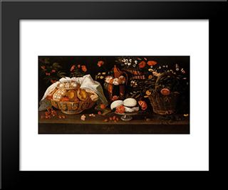 Natureza Morta - Doces E Flores: Modern Black Framed Art Print by Josefa de Obidos