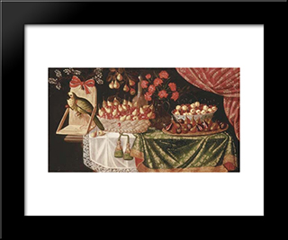 Pears And Marasca Cherries In A Basket: Modern Black Framed Art Print by Josefa de Obidos