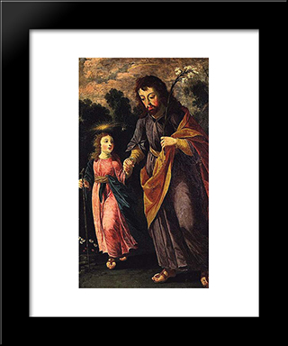 So Jose E O Menino: Custom Black Wood Framed Art Print by Josefa de Obidos
