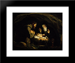 St. Francis And St. Clare Of Assisi In Adoration Of The Infant Christ: Modern Black Framed Art Print by Josefa de Obidos