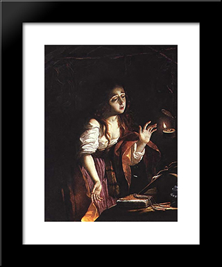 St. Mary Magdalene: Modern Black Framed Art Print by Josefa de Obidos