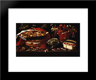 Still Life: Modern Black Framed Art Print by Josefa de Obidos
