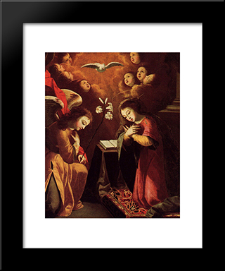 The Annunciation: Modern Black Framed Art Print by Josefa de Obidos