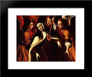 Transverberaco De Santa Teresa: Custom Black Wood Framed Art Print by Josefa de Obidos