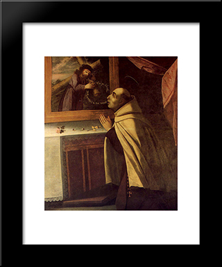 Viso De So Joo Da Cruz: Custom Black Wood Framed Art Print by Josefa de Obidos