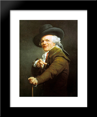 Portrait of the Artist in the Guise of a Mocking Man: Modern Black Framed Art Print by Joseph Ducreux