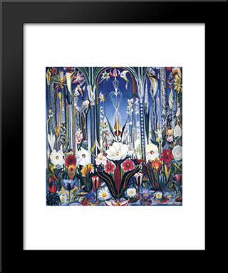Flowers, Italy: Modern Black Framed Art Print by Joseph Stella