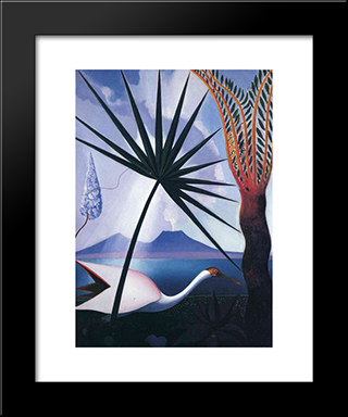 Neapolitan Song: Modern Black Framed Art Print by Joseph Stella