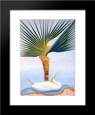 Palm Tree And Bird: Modern Black Framed Art Print by Joseph Stella
