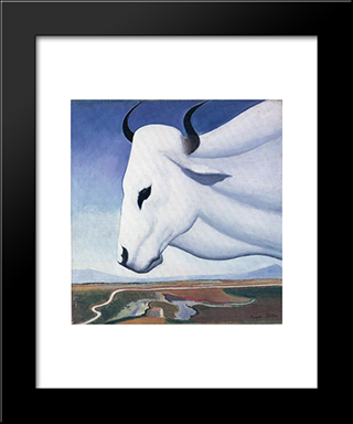 The Ox: Modern Black Framed Art Print by Joseph Stella
