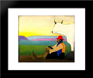 The Red Hat: Modern Black Framed Art Print by Joseph Stella