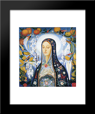 The Virgin: Modern Black Framed Art Print by Joseph Stella