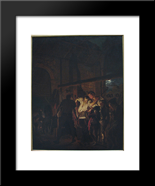 A Blacksmith'S Shop: Modern Black Framed Art Print by Joseph Wright