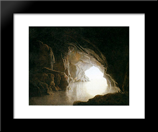 A Cavern, Evening: Modern Black Framed Art Print by Joseph Wright