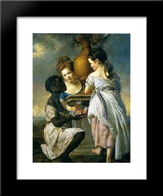 A Conversation Between Girls, Or Two Girls With Their Black Servant: Modern Black Framed Art Print by Joseph Wright