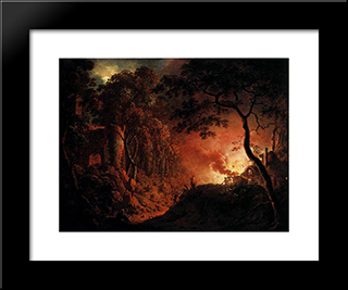 A Cottage On Fire: Modern Black Framed Art Print by Joseph Wright