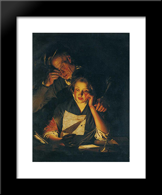 A Girl Reading A Letter, With An Old Man Reading Over Her Shoulder: Modern Black Framed Art Print by Joseph Wright