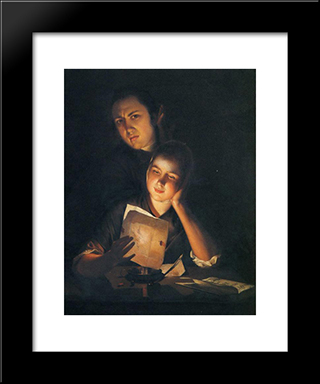 A Girl Reading A Letter By Candlelight, With A Young Man Peering Over Her Shoulder: Modern Black Framed Art Print by Joseph Wright