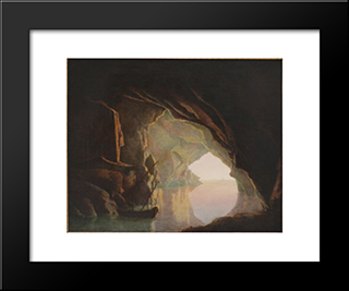 A Grotto In The Gulf Of Salerno, Sunset: Modern Black Framed Art Print by Joseph Wright
