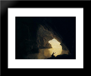 A Grotto In The Gulf Of Salernum, With The Figure Of Julia, Banished From Rome: Modern Black Framed Art Print by Joseph Wright